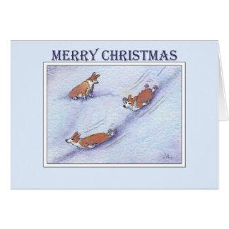 Merry Christmas, Corgi dogs snow sliding Card
