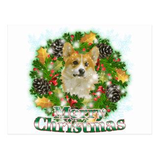 Merry Christmas Corgi Postcard