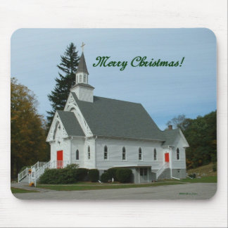 Merry Christmas!  Country Church Mouse Pad
