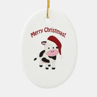Merry Christmas Cow Christmas Ornament