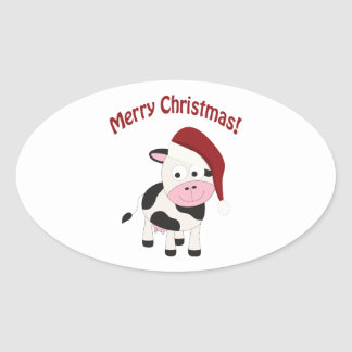 Merry Christmas Cow Oval Sticker