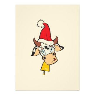 Merry Christmas Cow Santa Hat Bell Invitation Card