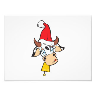 Merry Christmas Cow Santa Hat Bell Invitation Card Photo