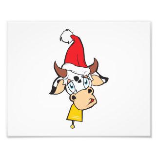 Merry Christmas Cow Santa Hat Bell Invitation Card Photographic Print