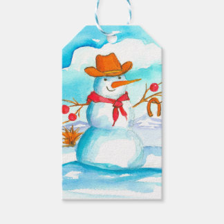 Merry Christmas Cowboy Snowman Gift Tags