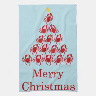 Merry Christmas Crab Tea Towel