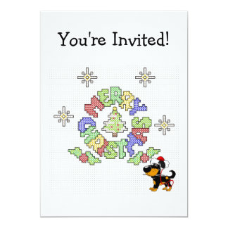 Merry Christmas Cross Stitch by Pup 5x7 Paper Invitation Card
