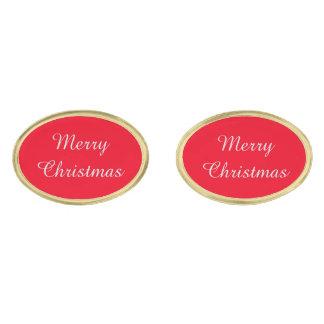 Merry Christmas Cufflinks Gold Finish Cuff Links
