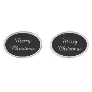 Merry Christmas Cufflinks Silver Finish Cuff Links