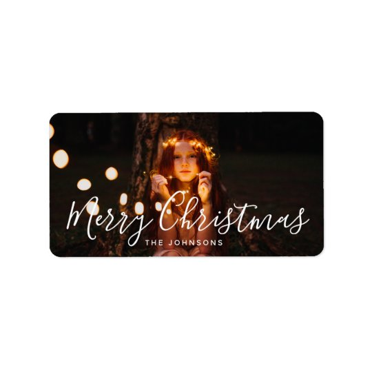 Merry Christmas Custom Greeting Holiday Photo Label