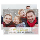 Merry Christmas Custom Photo 2-sided Gold Card