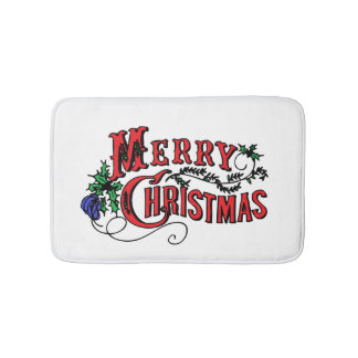 Merry Christmas Customizable Bath Mat