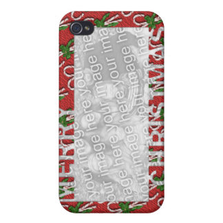Merry Christmas Cut Out Photo Frame Candy Canes iPhone 4/4S Cover