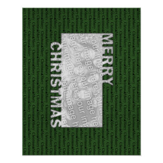 Merry Christmas Cut Out Photo Frame Green Print