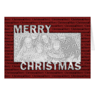 Merry Christmas Cut Out Photo Frame Red Greeting Card