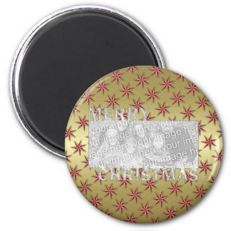 Merry Christmas Cut Out Photo Frame Red Gold Stars Refrigerator Magnets