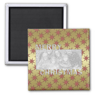 Merry Christmas Cut Out Photo Frame Red Gold Stars Magnet