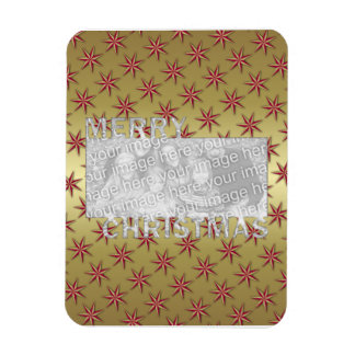 Merry Christmas Cut Out Photo Frame Red Gold Stars Magnets