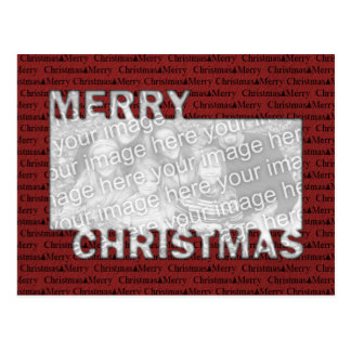 Merry Christmas Cut Out Photo Frame Red Postcard