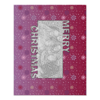 Merry Christmas Cut Out Pink Purple Snowflakes Print