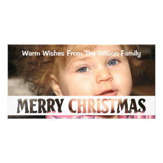 Merry Christmas Cut Out Text Photo Greeting Card