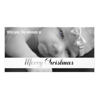 Merry Christmas Cut Out Text Photo Template Card Customised Photo Card