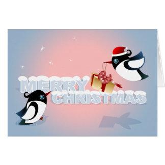Merry Christmas - Cute Birds Christmas Present Greeting Card