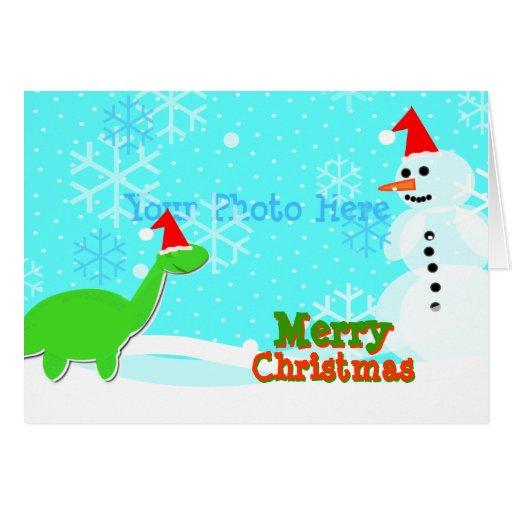 Merry Christmas Cute Cartoon Dinosaur Snowman Card