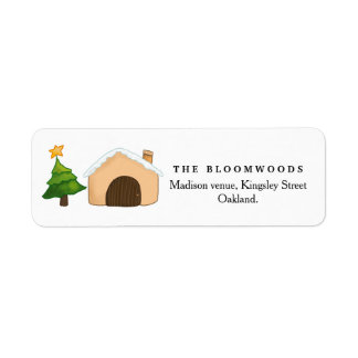 Merry Christmas Cute Cottage Christmas Tree | Star Return Address Label
