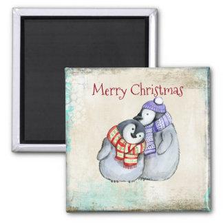 Merry Christmas Cute Cuddling Penguins Magnet