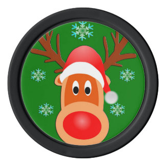 Merry Christmas Cute Deer Clay Poker Chips, Black Poker Chips