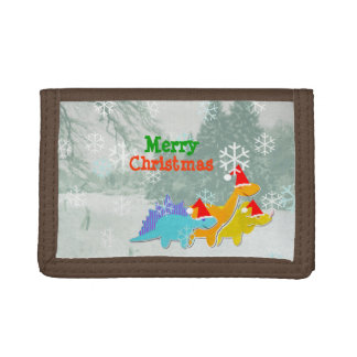 Merry Christmas Cute Dinosaurs Trifold Wallet
