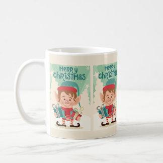 Merry Christmas Cute Elf with Presents Coffee Mug