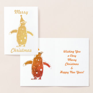 Merry Christmas Cute Gold Penguin Foil Card