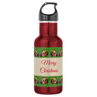 Merry Christmas Cute Nostalgic Santa Elephants 532 Ml Water Bottle