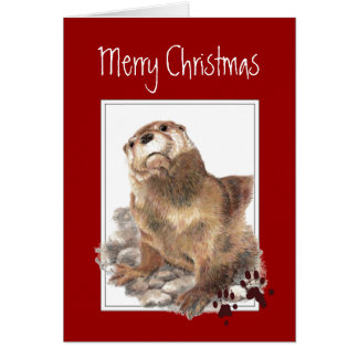 Merry Christmas, Cute Otter Animal Greeting Cards