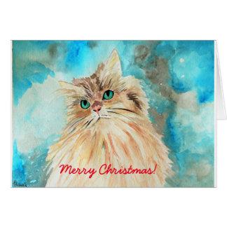 Merry Christmas Cute Persian Cat Watercolor Art Card