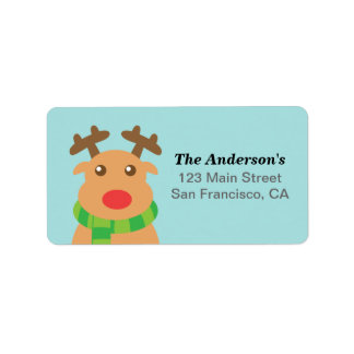 Merry Christmas - Cute Reindeer with Red Nose Label