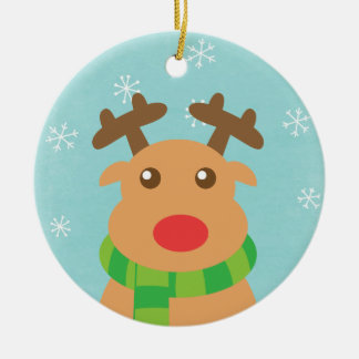 Merry Christmas - Cute Reindeer with Red Nose Round Ceramic Decoration