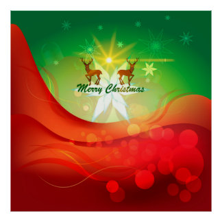 Merry christmas, cute reindeer with snowflakes print