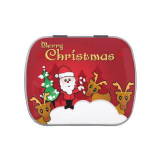 Merry Christmas Cute Santa Claus Cartoon Jelly Belly Candy Tins