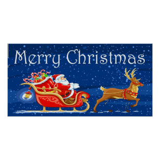 Merry Christmas Cute Santa Claus Cartoon Poster