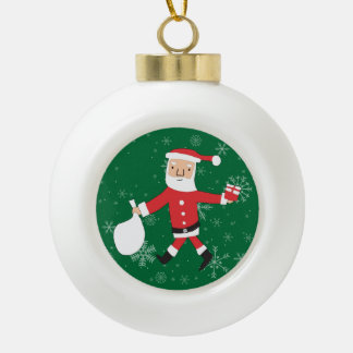 Merry Christmas Cute Santa Claus Is Coming To Town Ceramic Ball Christmas Ornament