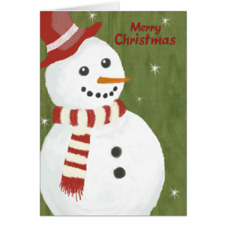Merry Christmas Cute Snowman in Red Hat and Scarf Card