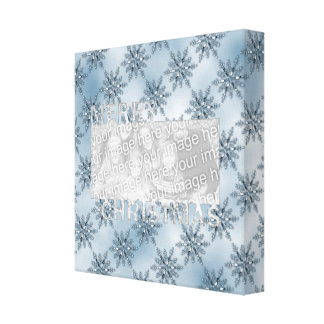 Merry Christmas CutOut Photo Frame Blue Snowflakes Gallery Wrap Canvas