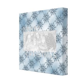 Merry Christmas CutOut Photo Frame Blue Snowflakes Canvas Print