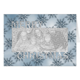 Merry Christmas CutOut Photo Frame Blue Snowflakes Greeting Card