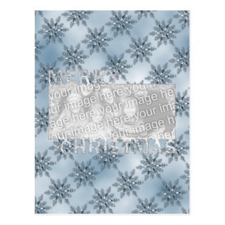 Merry Christmas CutOut Photo Frame Blue Snowflakes Postcard