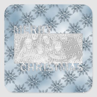 Merry Christmas CutOut Photo Frame Blue Snowflakes Square Sticker
