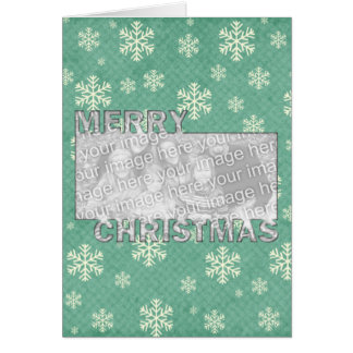 Merry Christmas CutOut Photo Frame Mint Snowflakes Stationery Note Card